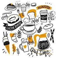 mão desenhada café e sobremesas