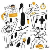 conjunto de artes marciais de mão desenhada vetor