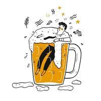mão desenhada homem flutuando no copo de cerveja vetor