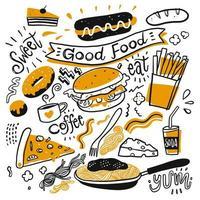 conjunto de café e comida de mão desenhada vetor