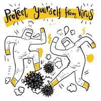 mão desenhada homens de terno pisando no vírus vetor