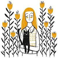 menina bonita desenhada de mão com gato em flores vetor
