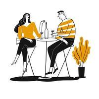 casal desenhado mão bebendo no pub vetor