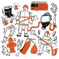 conjunto de bombeiros de mão desenhada vetor