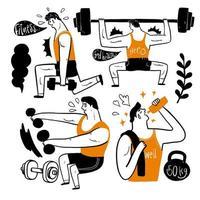 personagens desenhados à mão fazendo exercícios vetor