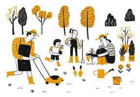 jardinagem familiar desenhada de mão
