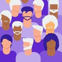 velhos e jovens cidadãos masculinos conceito vetor