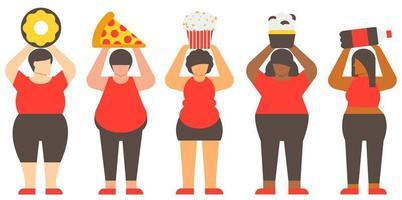 conceito de diversidade de mulheres obesas e junk food vetor