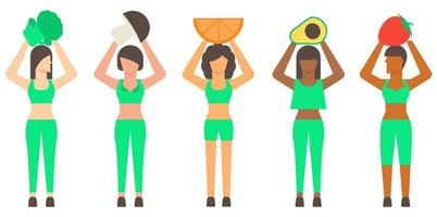 mulher saudável e comida saudável vetor
