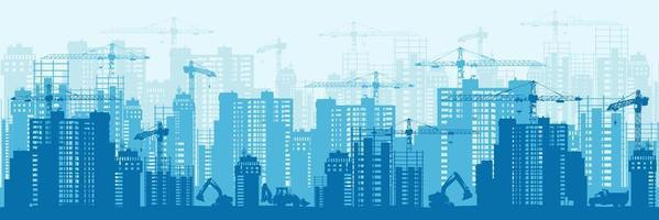 design de silhueta de desenvolvimento urbano azul vetor