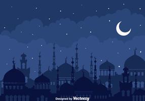 Noite árabe com fundo da mesquita vetor