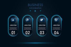 modelo de infográfico de negócios de cápsula de néon azul vetor