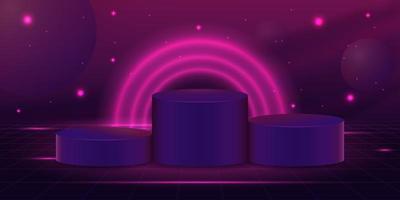 ficção científica 3d pódios de cilindros vazios vetor