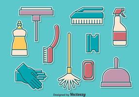 Conjunto de coleção de ferramentas de limpeza doméstica vetor