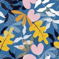 flores e folhas no padrão de fundo azul vetor