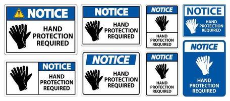 conjunto de sinal necessário de proteção das mãos vetor