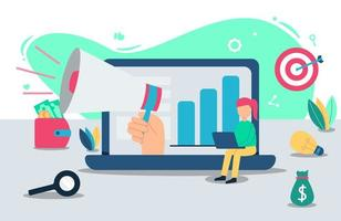 conceito de design de promoção online vetor