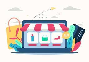 ilustração de loja online em design plano