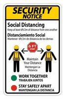 'aviso de segurança distanciamento social bilingue' sinal de construção vetor