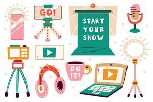 conjunto de imagens '' comece seu show ''