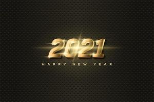 fundo 2021 com números luminosos de ouro 3d. vetor