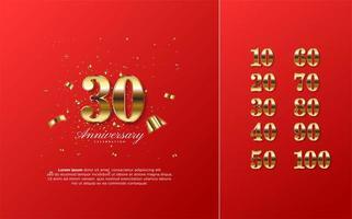 figuras de celebração 10-100 com um 3d dourado vetor