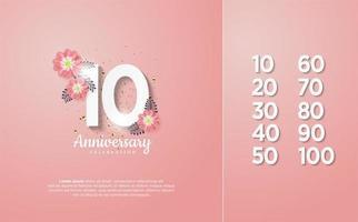 os números da celebração são de 10 a 100 com números brancos vetor