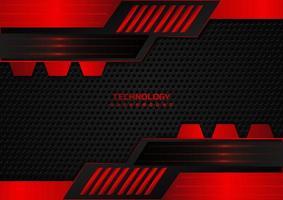 tecnologia abstrata geométrico fundo vermelho e preto vetor