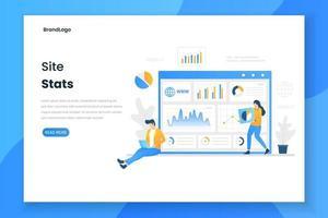 página de destino das estatísticas do site de design plano