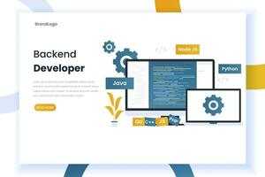 página de destino do desenvolvedor de back-end de design plano