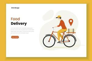 página de destino do homem de entrega de comida de design plano