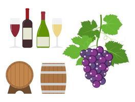 conjunto de produtos para uvas e vinhos vetor