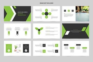 conjunto de slides de apresentação de negócios branco, preto e verde