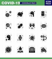 pacote de ícones de coronavírus preto sólido incluindo máscara vetor