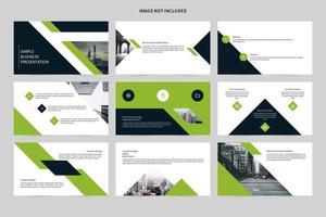 conjunto de slides de apresentação de negócios branco e verde