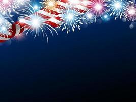 Bandeira dos EUA com fogos de artifício e espaço de cópia