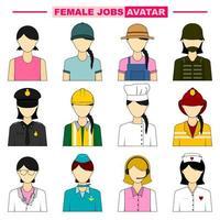 conjunto de avatares de emprego feminino vetor
