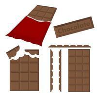 barra de chocolate com conjunto de invólucro vetor
