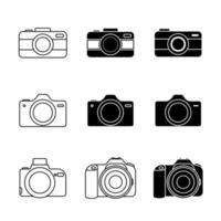 conjunto de ícones de câmera desenhada de linha vetor