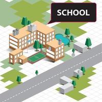 paisagem isométrica da escola vetor