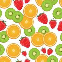 laranja sem costura, padrão de kiwi morango vetor