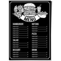 modelo de menu de comida preta e branca desenhada de mão vetor