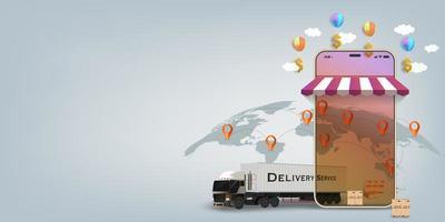 conceito de transporte rápido móvel on-line de logística vetor