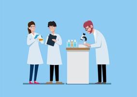 três cientistas trabalhando no laboratório de ciências vetor