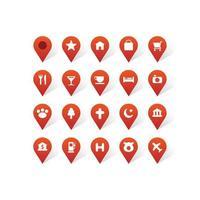 mapa pin ponteiro conjunto de ícones vetor