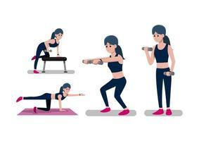 mulher fazendo treino com pesos vetor