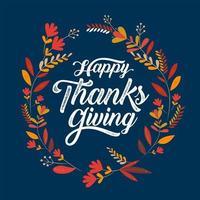 cartaz de tipografia feliz ação de Graças com moldura de folha vetor