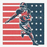 jogador de futebol americano na bandeira da américa vetor