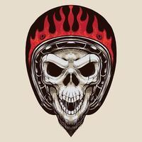crânio de motociclista vintage com barba vetor