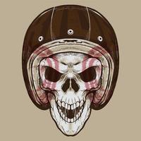 crânio de motociclista vintage vetor